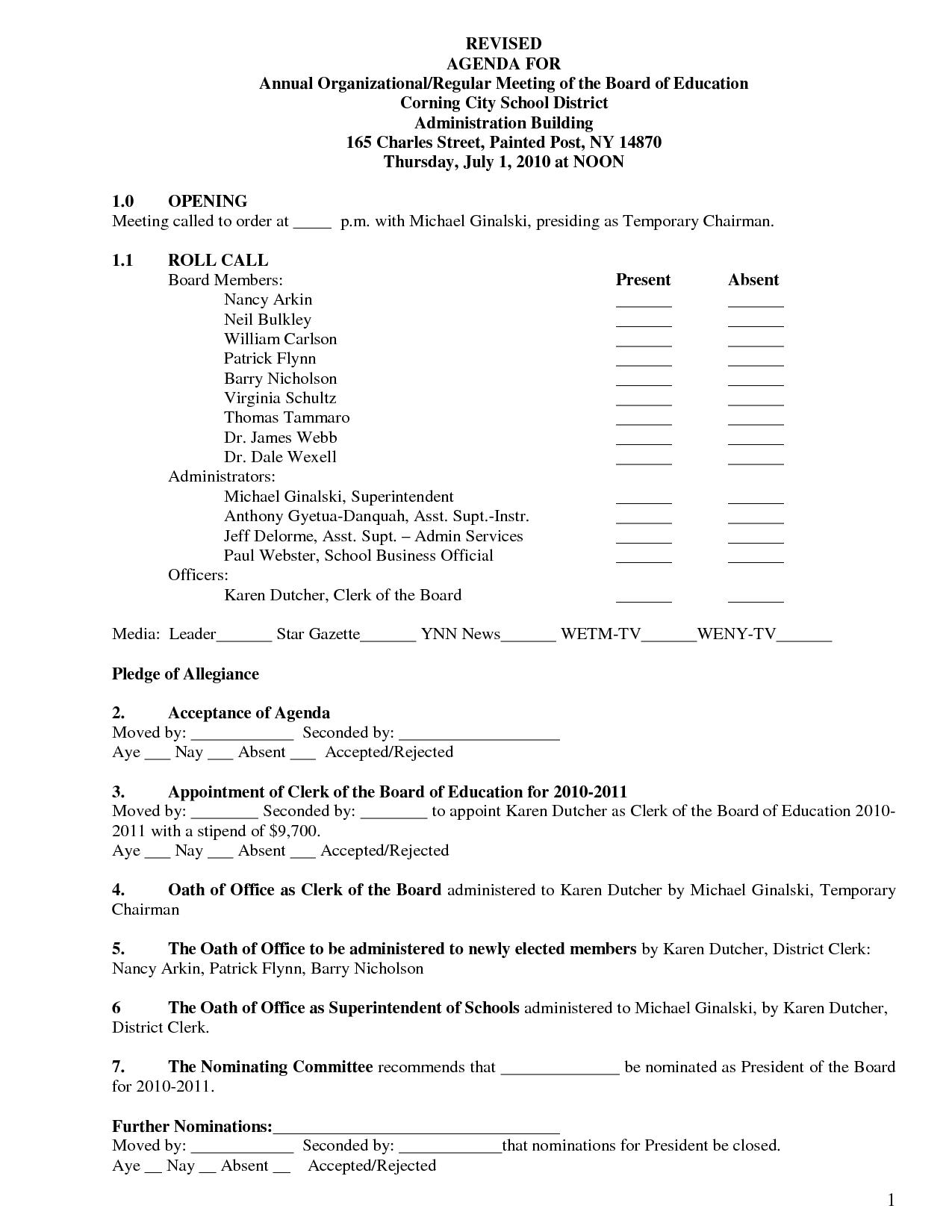 Hoa Board Of Directors Meeting Agenda Template