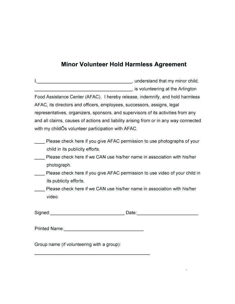 Hold Harmless Template Letter
