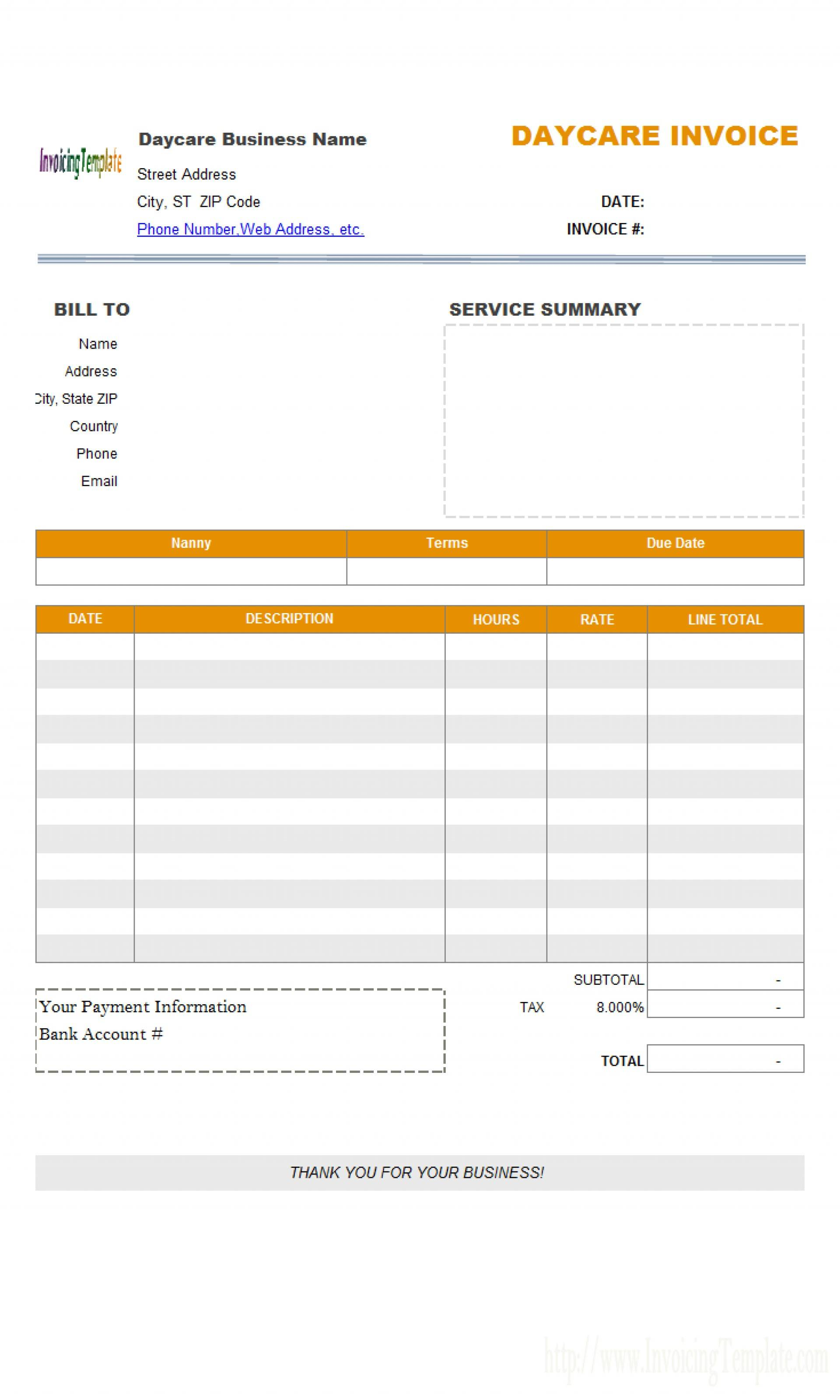 Home Daycare Invoice Templates