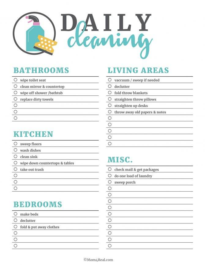 House Cleaning Checklist Template Uk