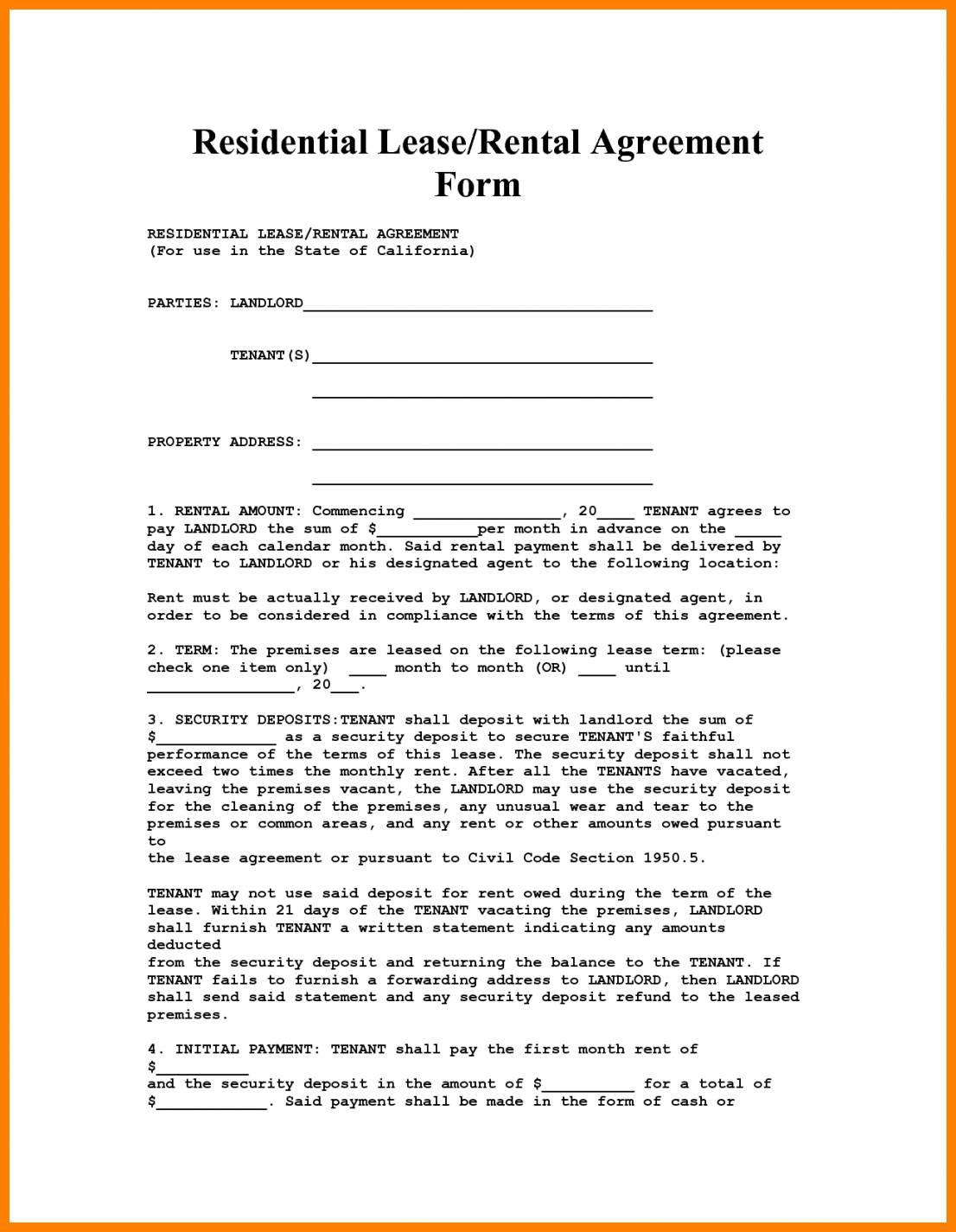 House Rental Agreement Template Florida