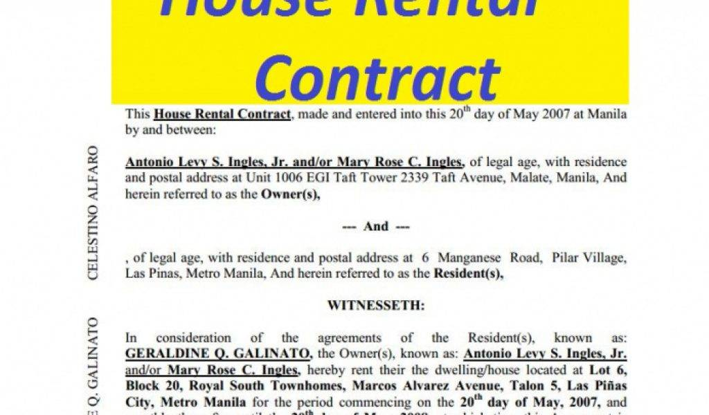 House Rental Agreement Template Malaysia