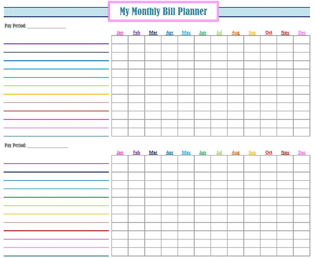 Household Monthly Bill Organizer Template