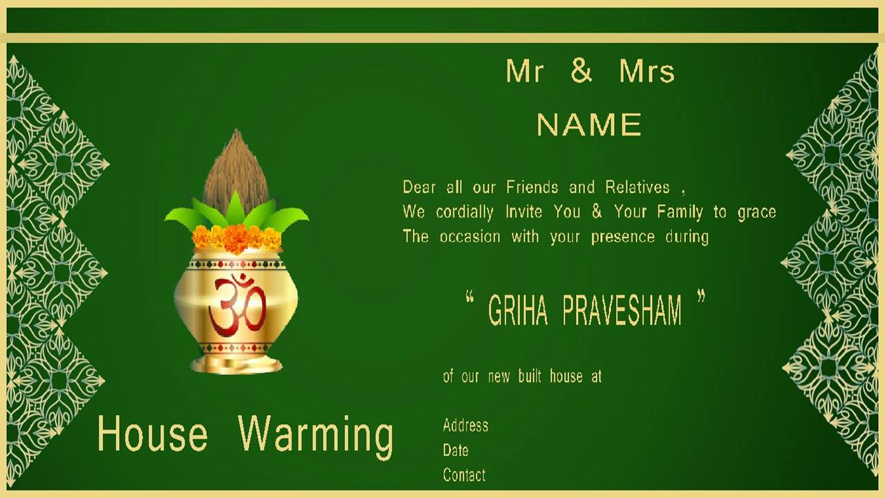 Housewarming Invitation Templates In Telugu