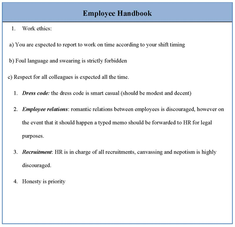 Hr Employee Handbook Template