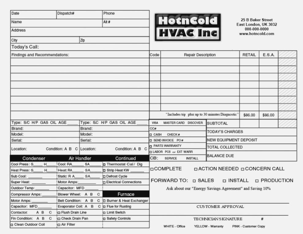 Hvac Estimate Forms