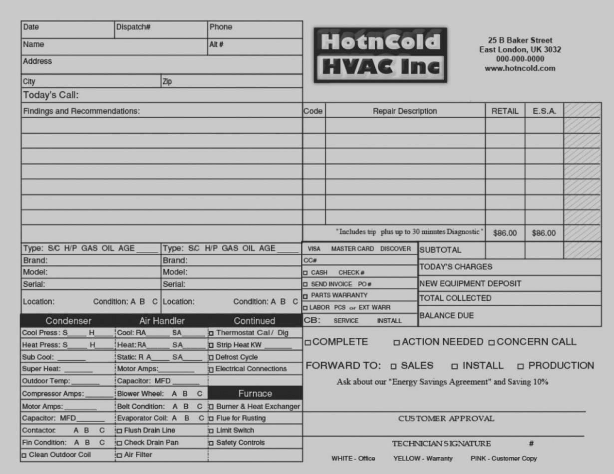 Hvac Invoice Format