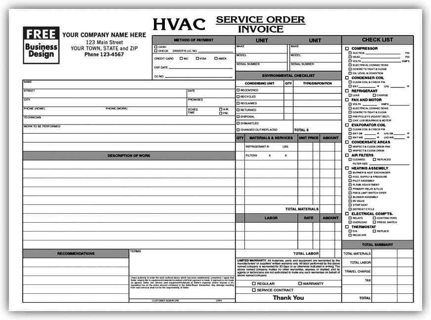 Hvac Service Order Invoice Forms
