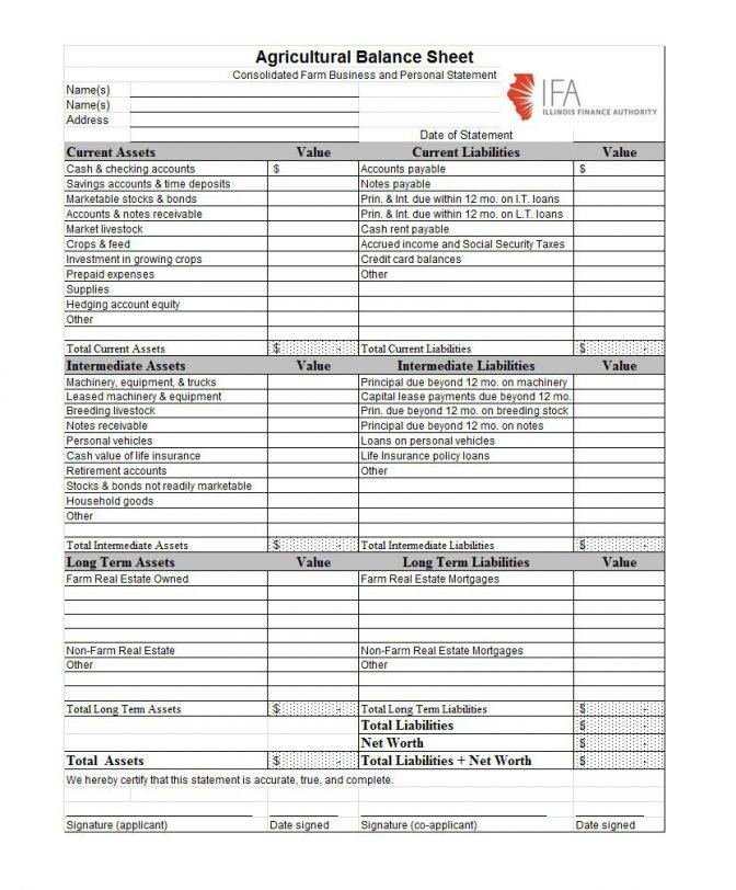 Income And Balance Sheet Template
