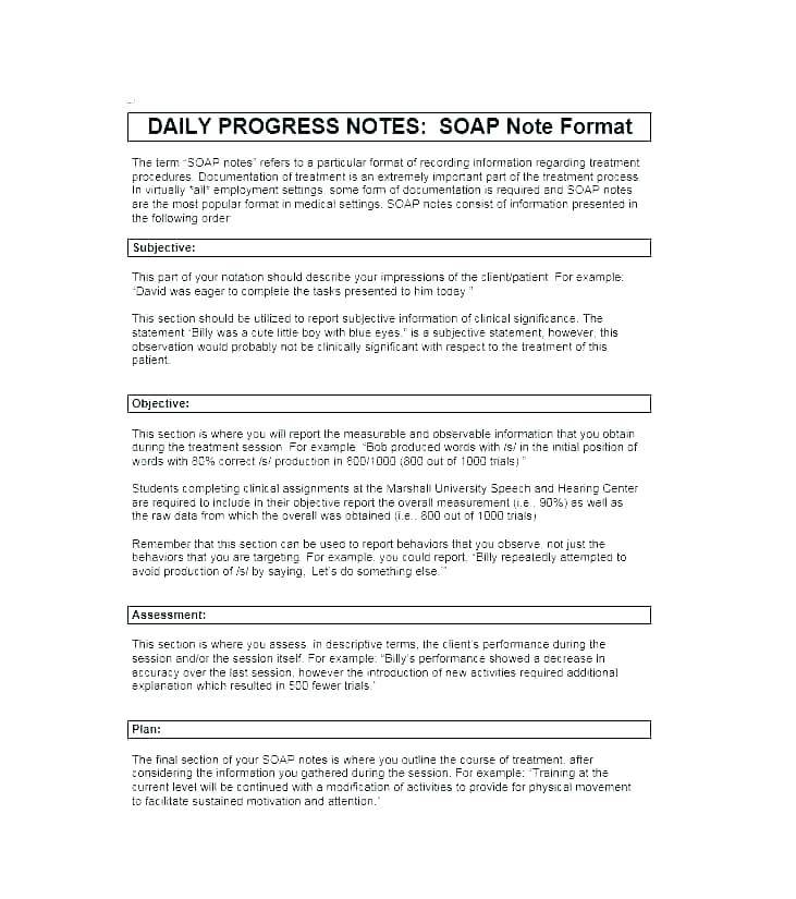 Inpatient Psychiatric Progress Note Template Templates