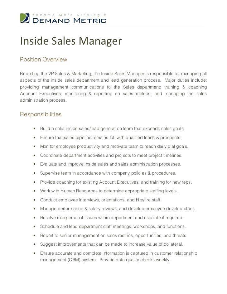 Inside Sales Manager Job Description Resume