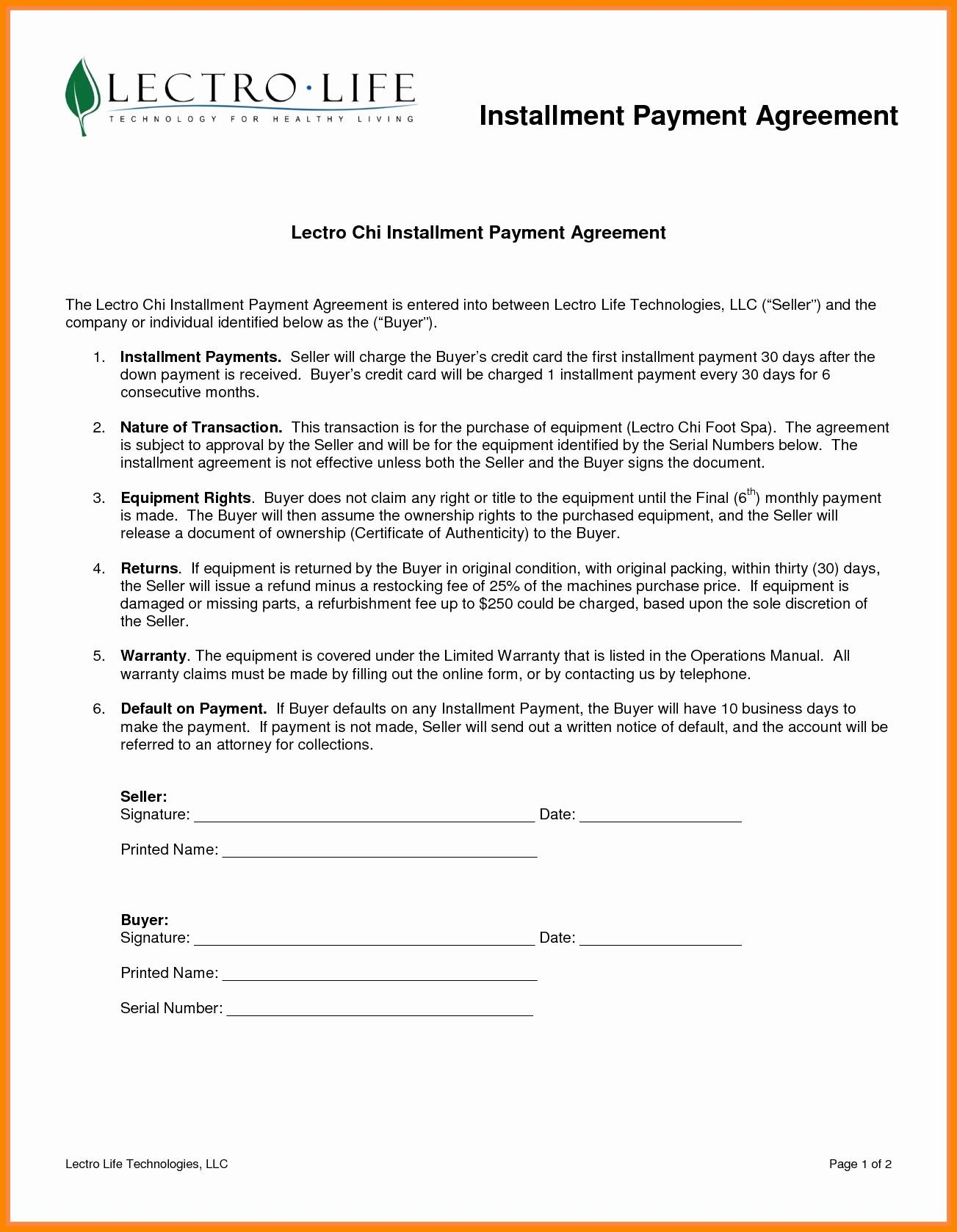 Installment Payment Contract Template
