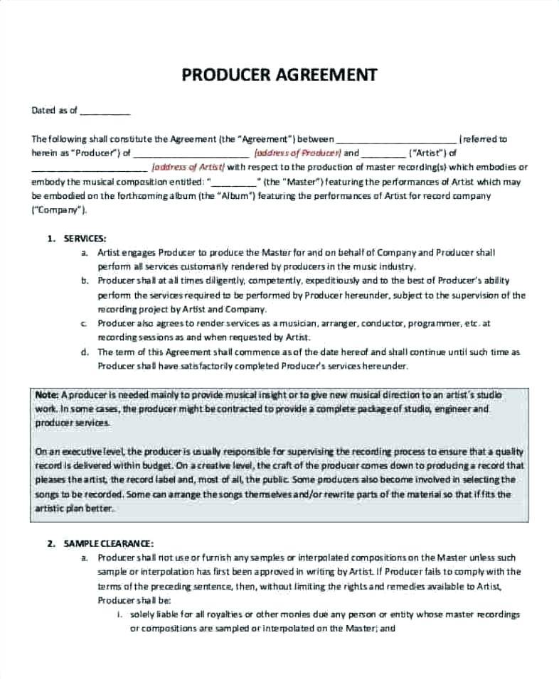 Insurance Producer Contract Template