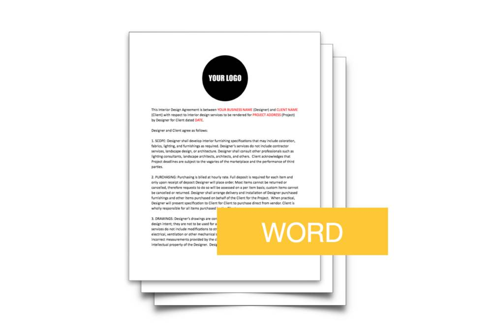 Interior Design Contract Template Word