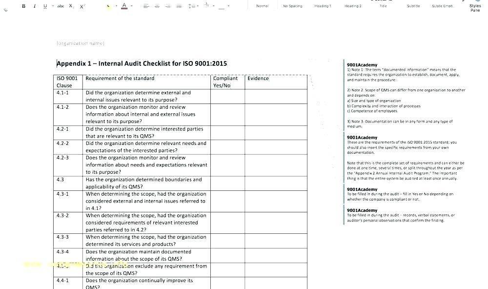 Internal Audit Agenda Template