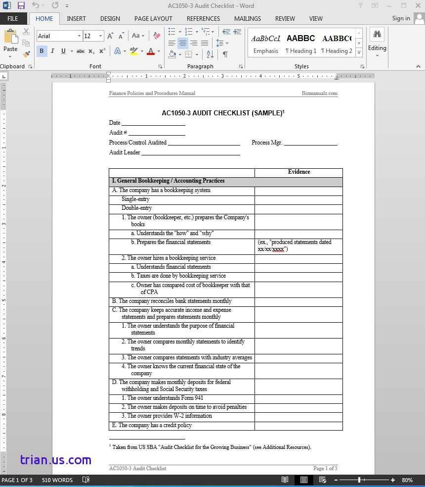 Manufacturing Process Audit Checklist Format - Templates