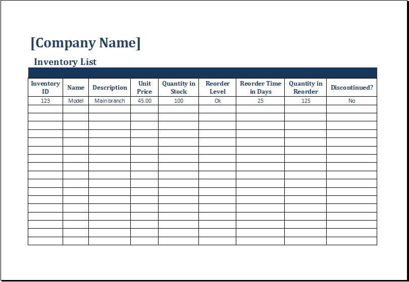 Inventory Checklist Template Free