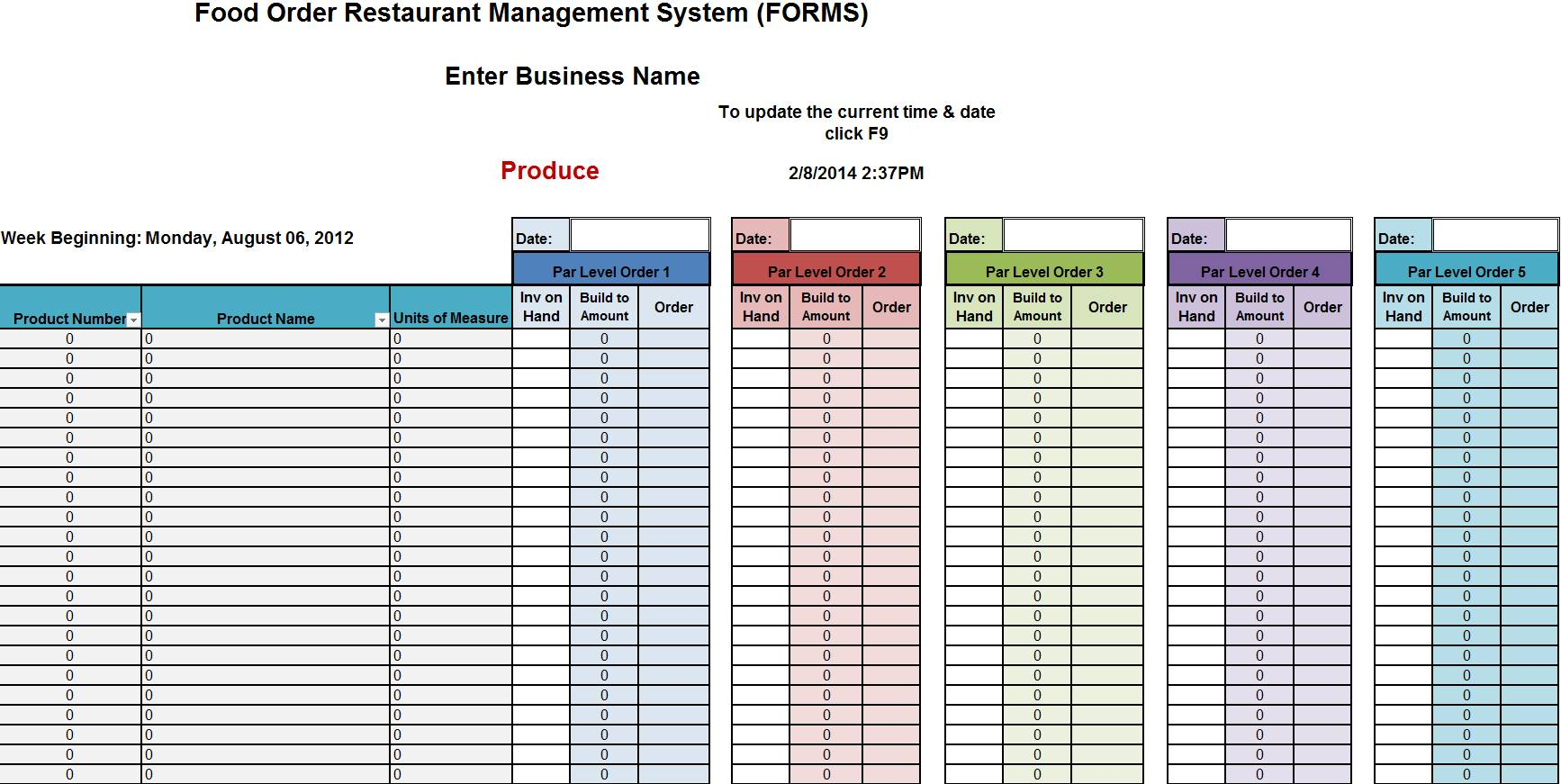 Inventory Checklist Template Restaurant