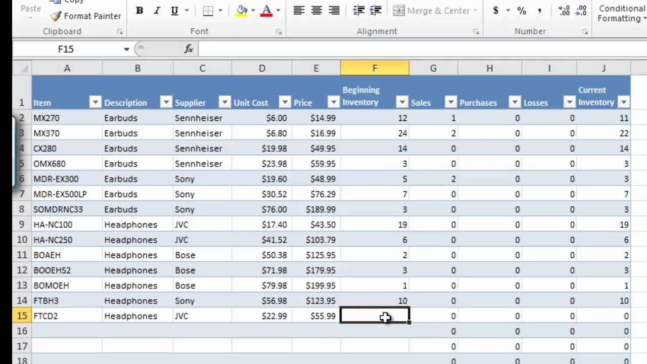 Inventory Tracking Spreadsheet Template Download