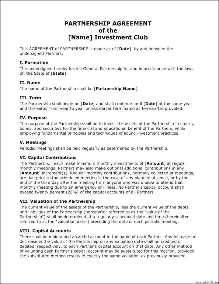 Investment Club Contract Template