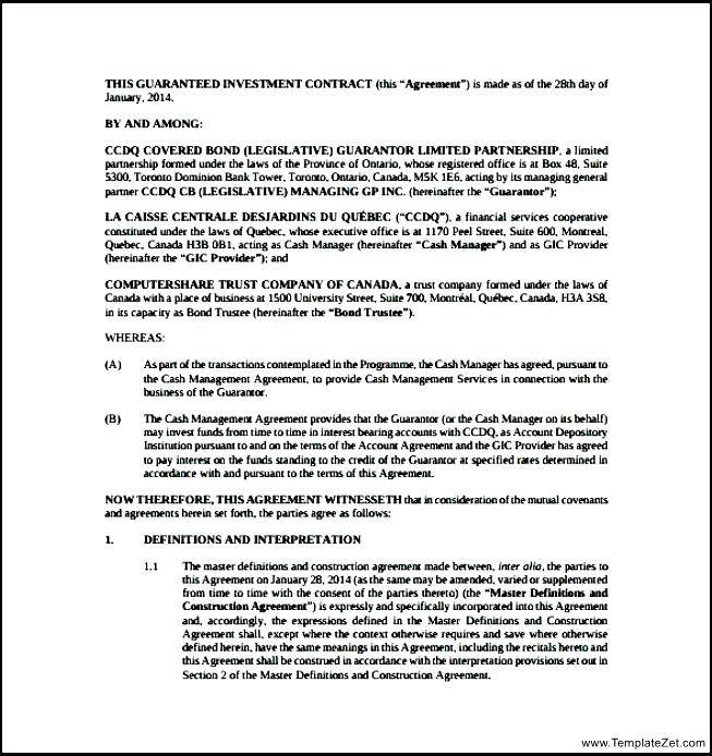 Investment Contract Template Australia
