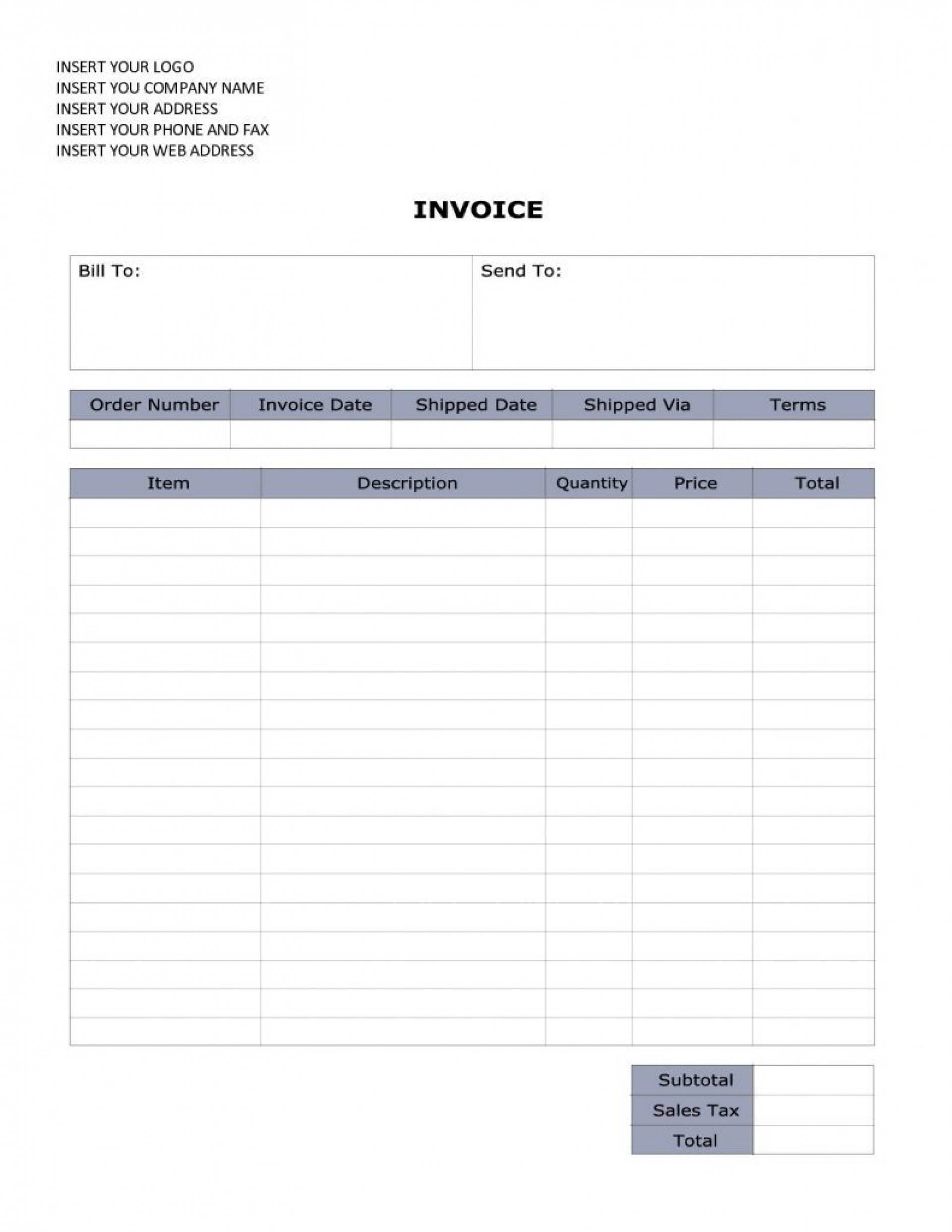 Invoice Template Doc Word
