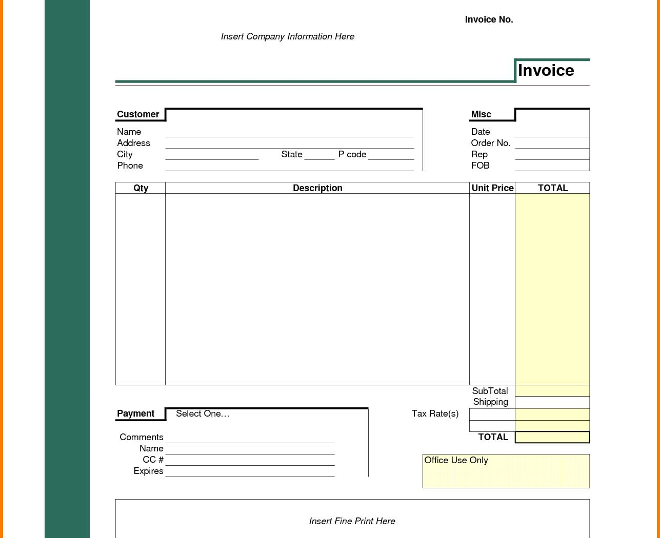 Invoice Template In Excel For Gst