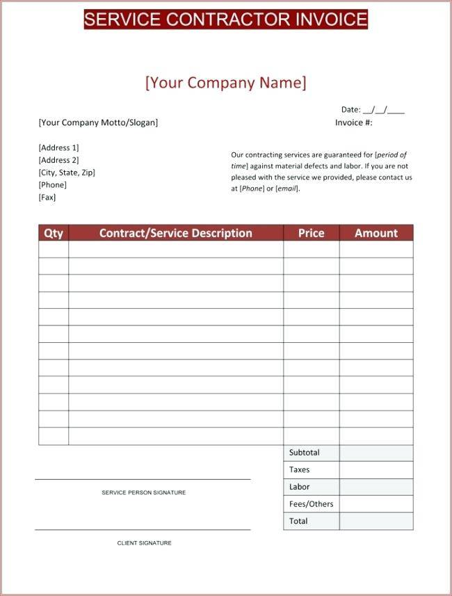 Invoice Template Word For Consulting Services