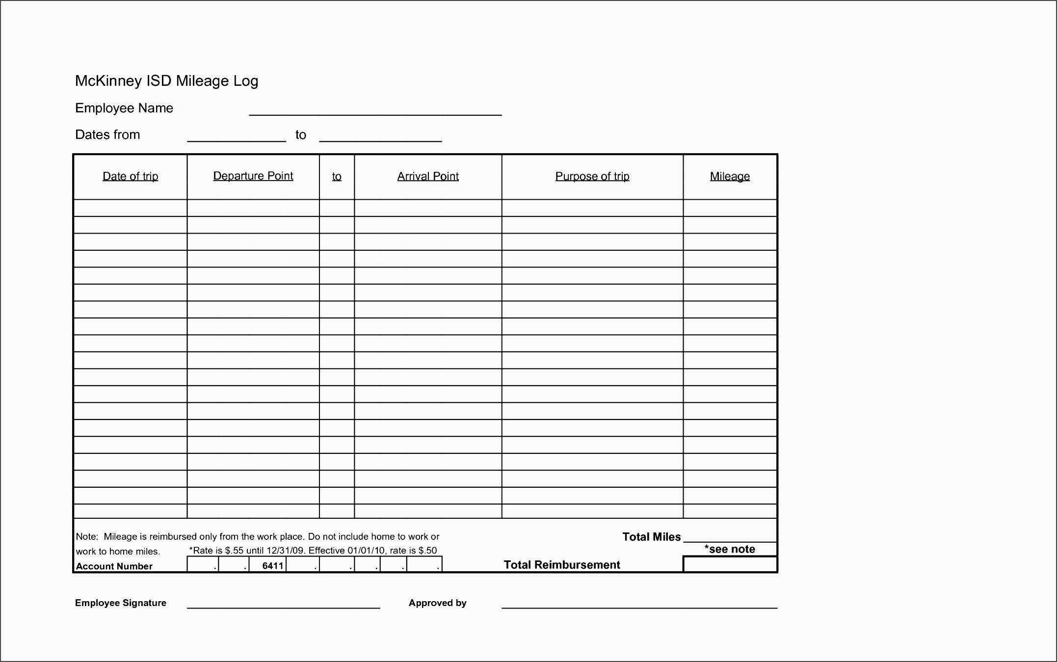 Irs Mileage Log Template 2017