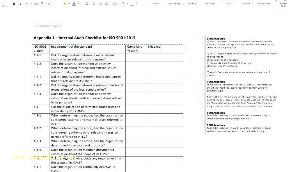 Iso 9001 Audit Plan Format