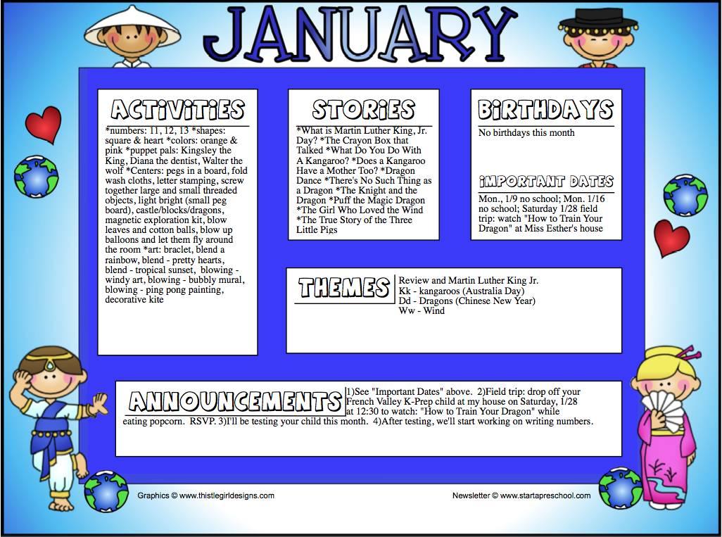 January Newsletter Template Preschool