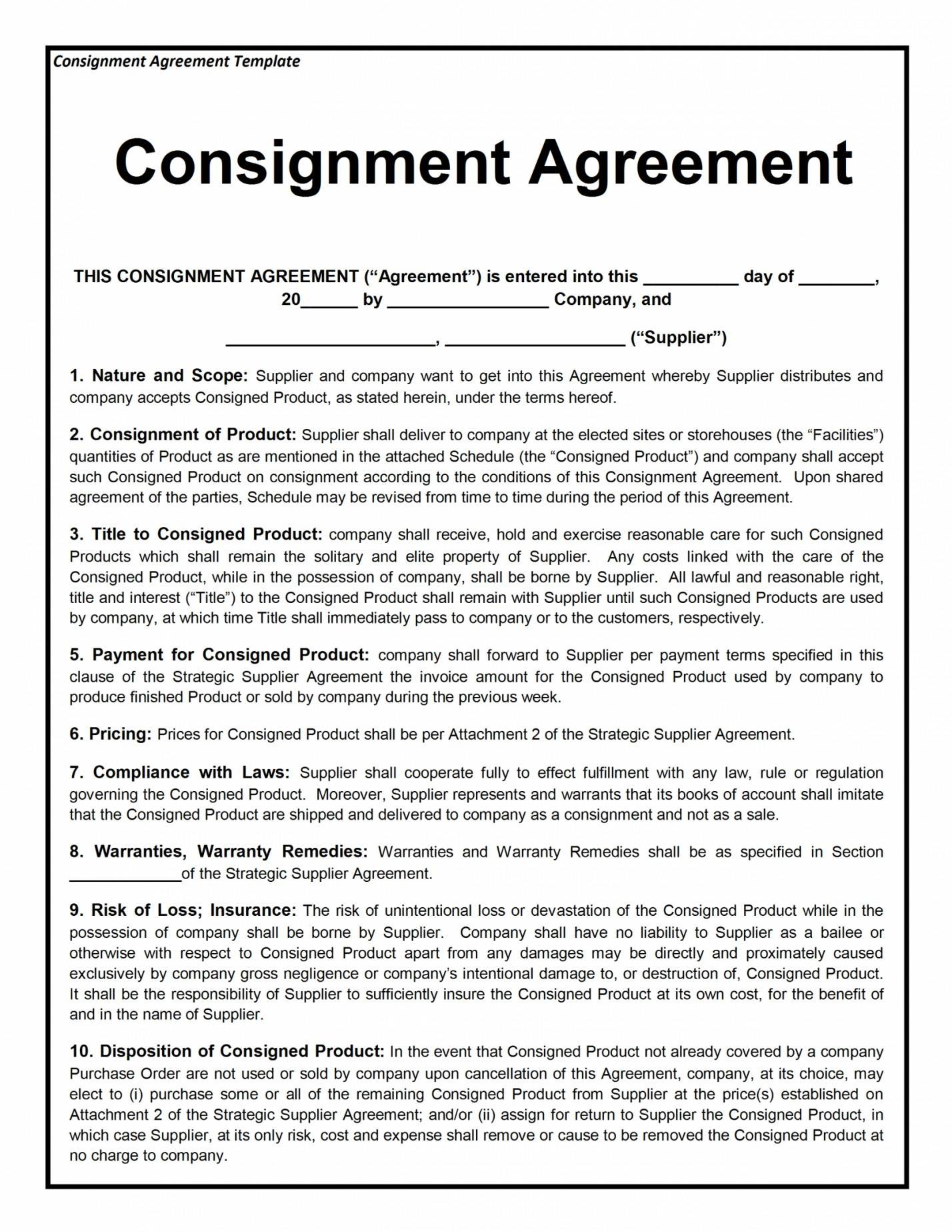 Jewelry Consignment Agreement Template