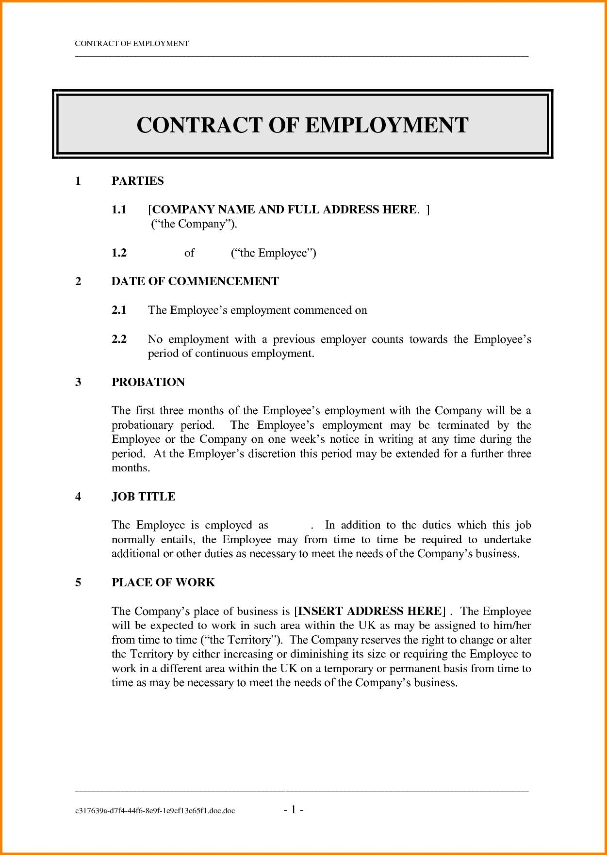 Job Contract Templates