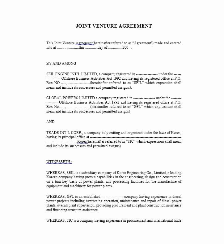 Joint Venture Agreement Template Real Estate