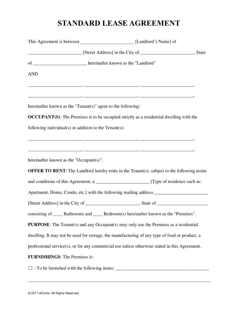 Landlord Tenant Agreement Form Free