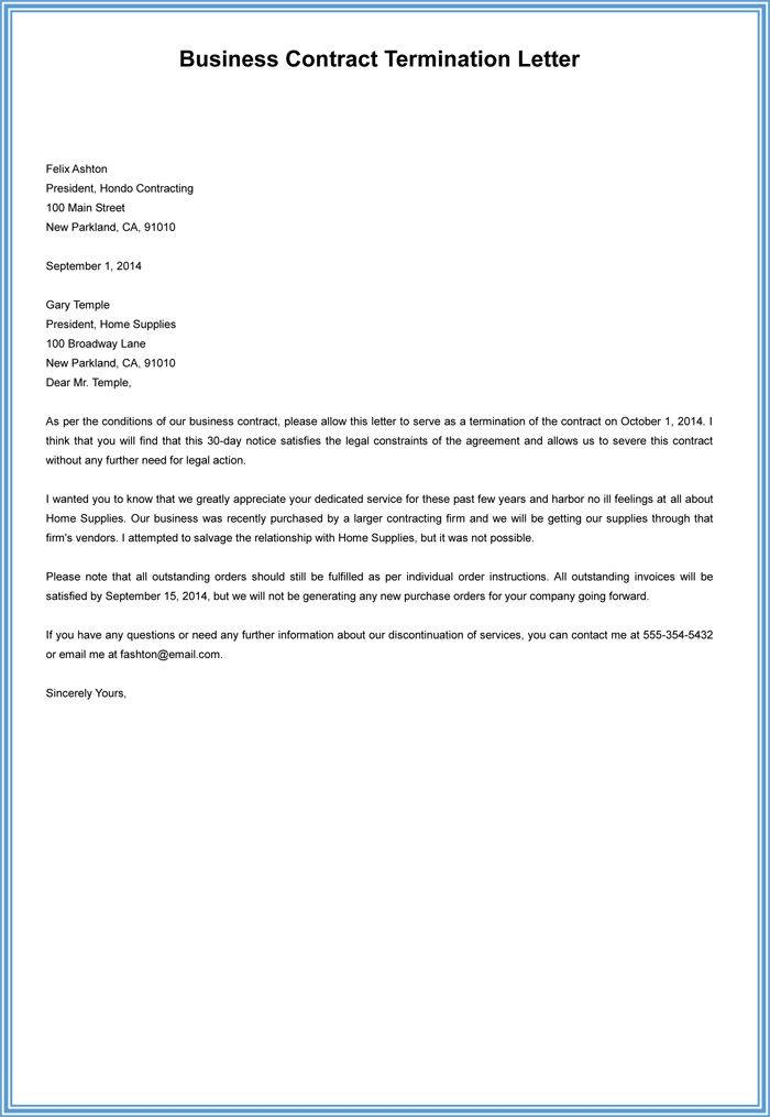 Landlord Termination Of Lease Letter Template
