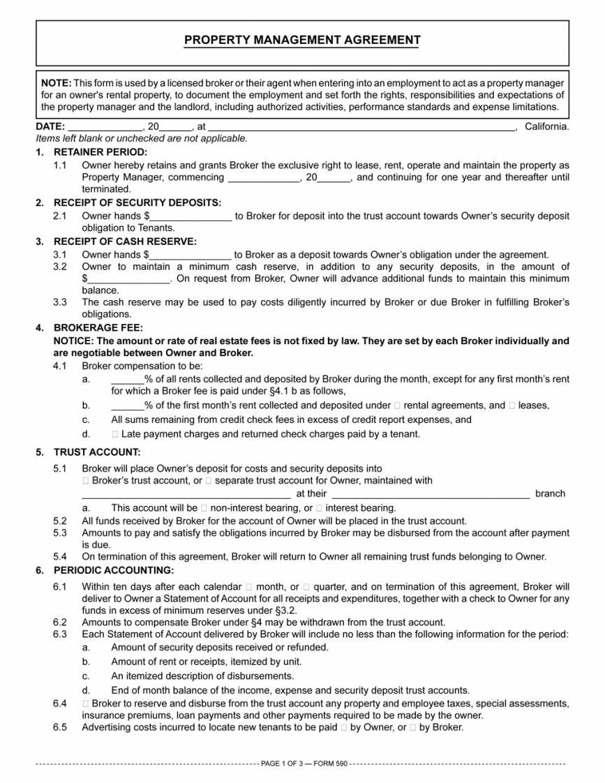 Landlords Property Management Agreement Template
