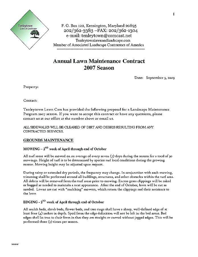 Landscape Contract Template Free