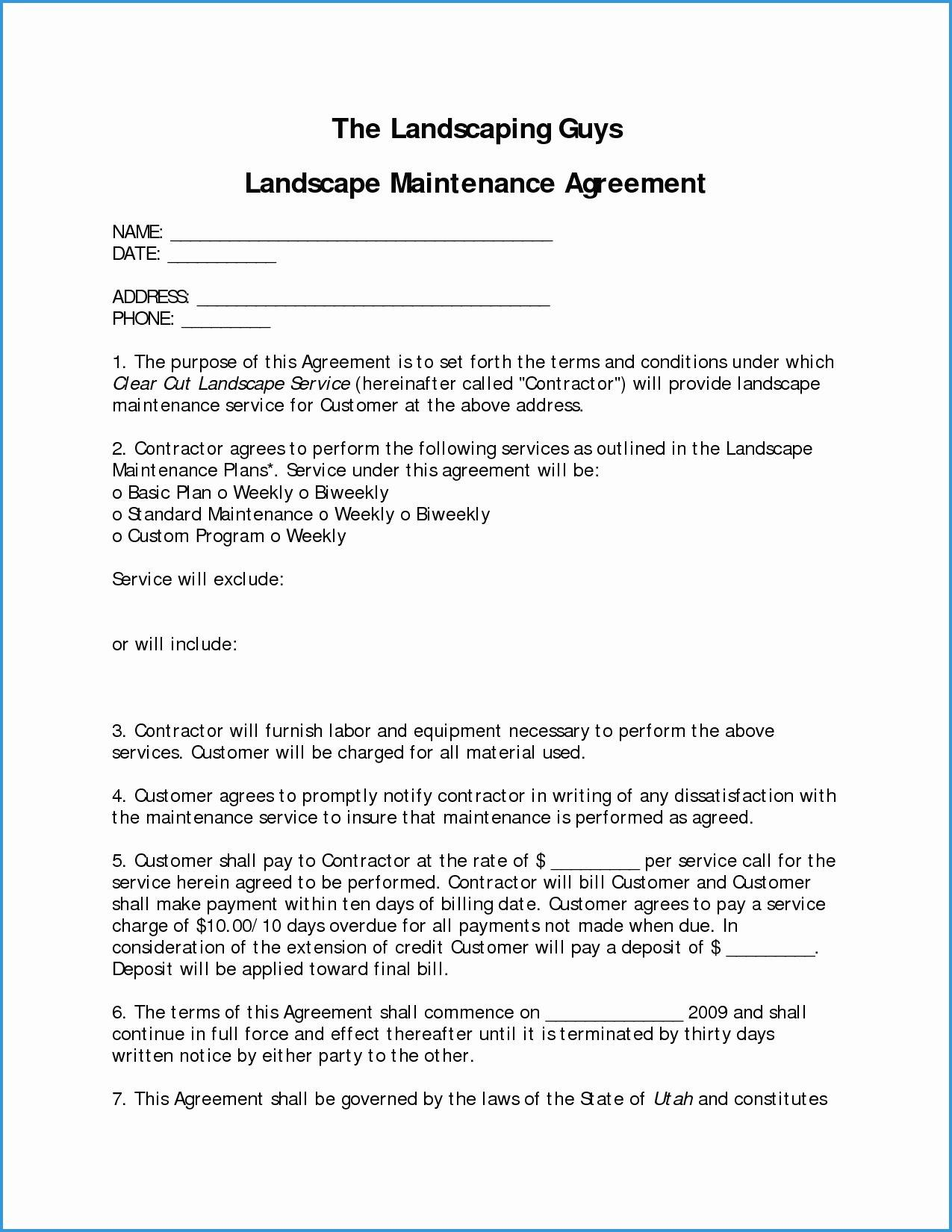 Landscape Maintenance Contract Template Free
