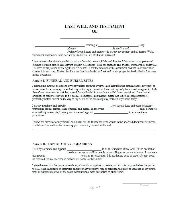 Last Will And Testament Free Template Pdf Uk