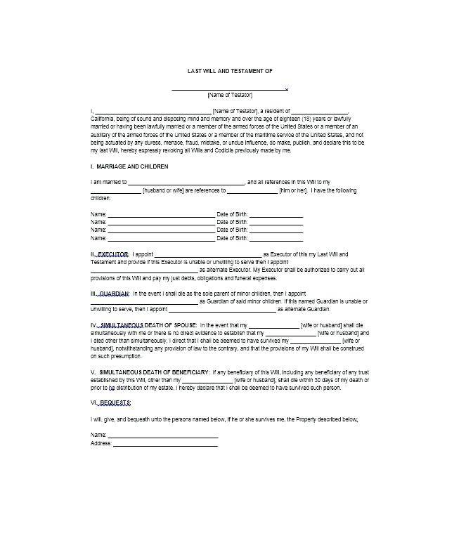 Last Will And Testament Free Template South Carolina