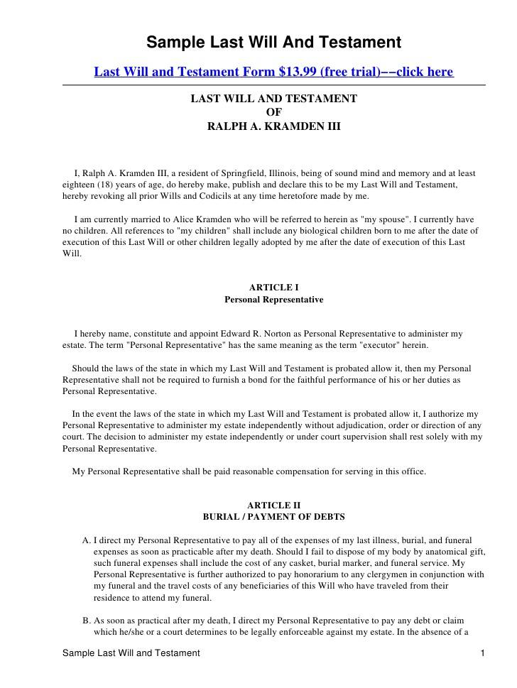 Last Will And Testament Pennsylvania Template Free