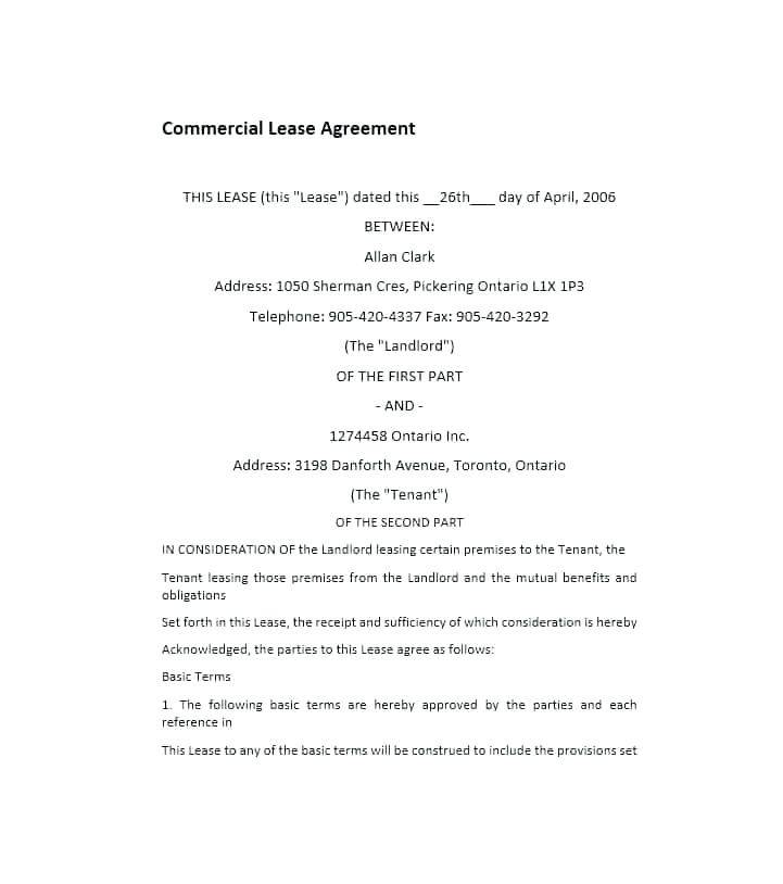 Lease Agreement Template Ontario