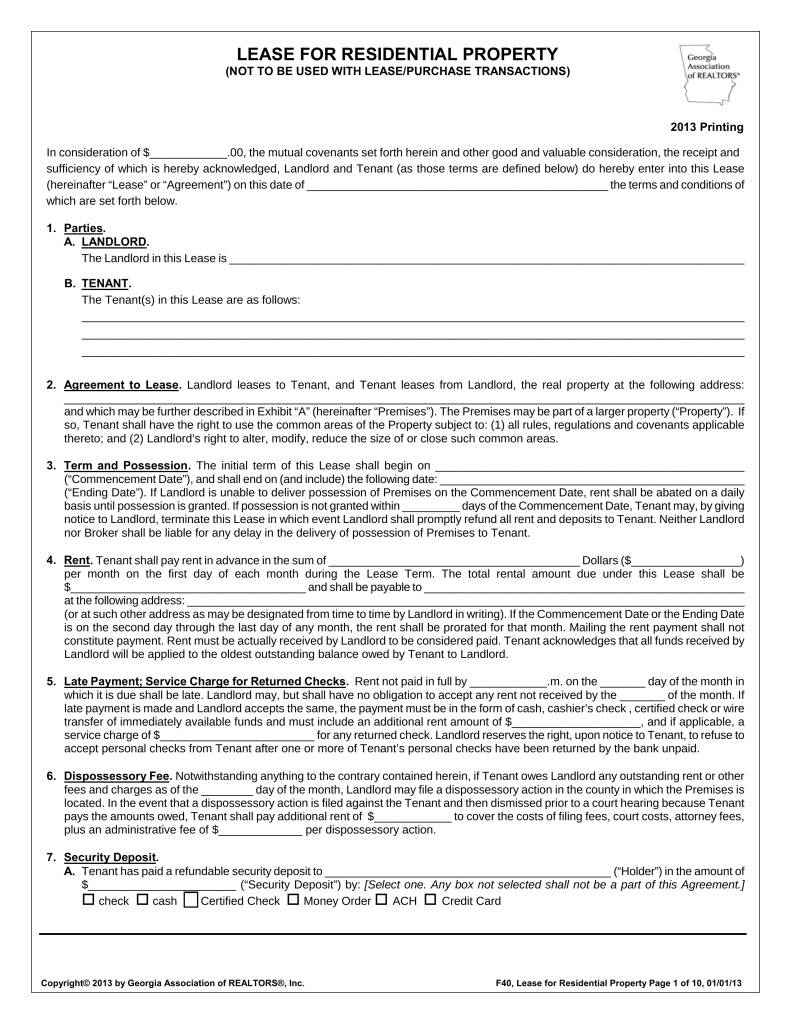 Lease Contract Form Florida