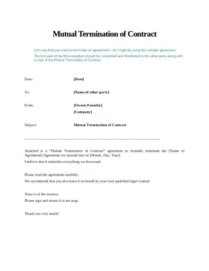 Lease Ending Agreement Letter