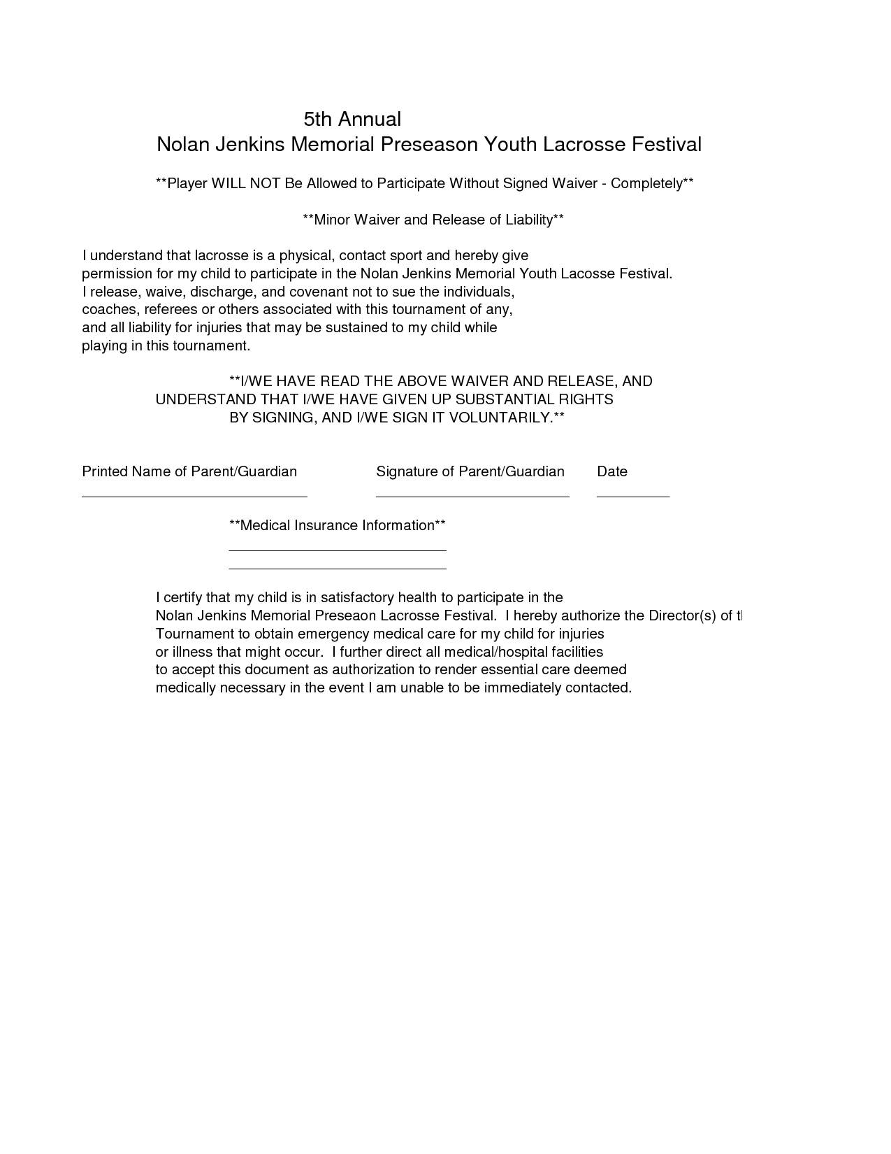 Legal Waiver Of Liability Template