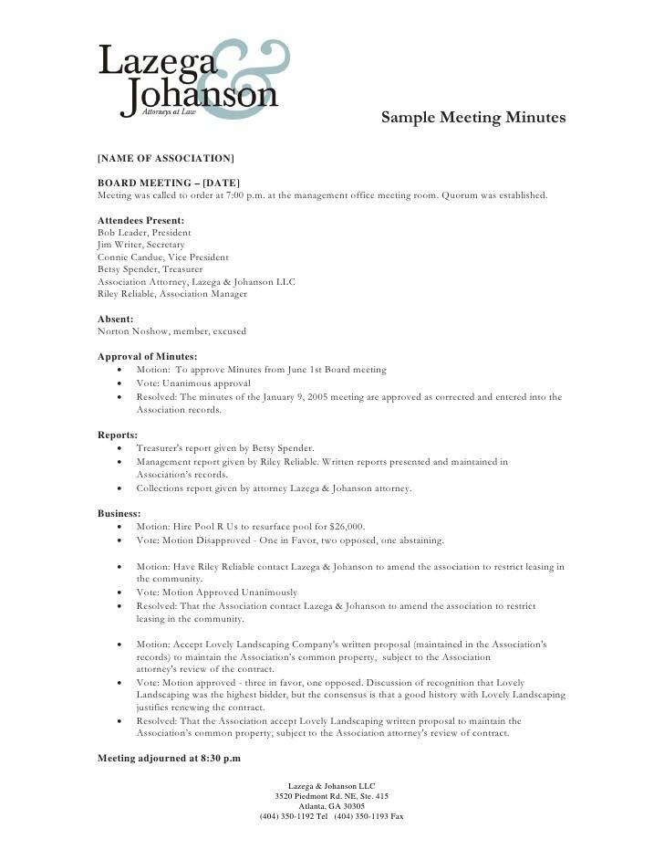 Llc Meeting Minutes Template Free