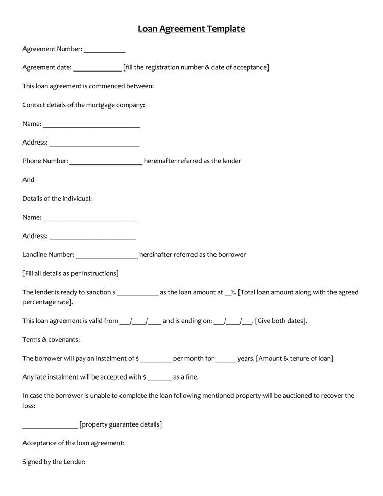 Loan Agreement Template Docx