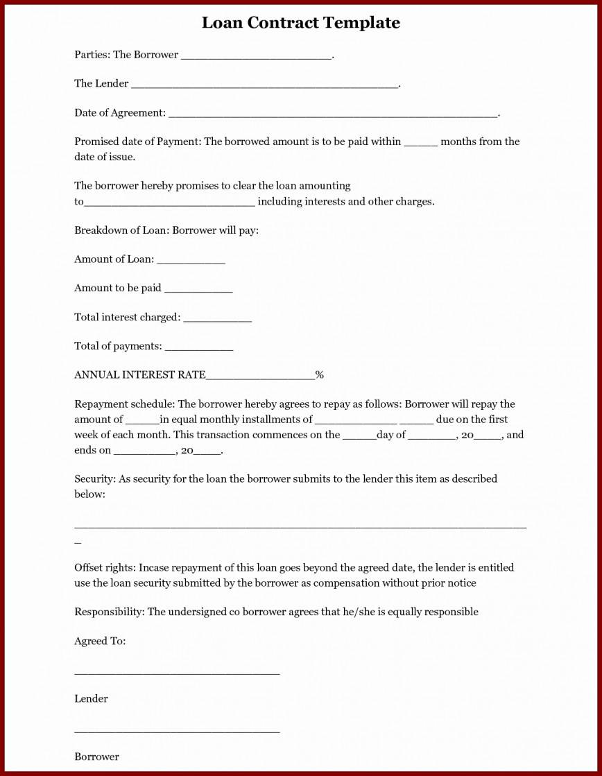 Loan Contract Template Nz
