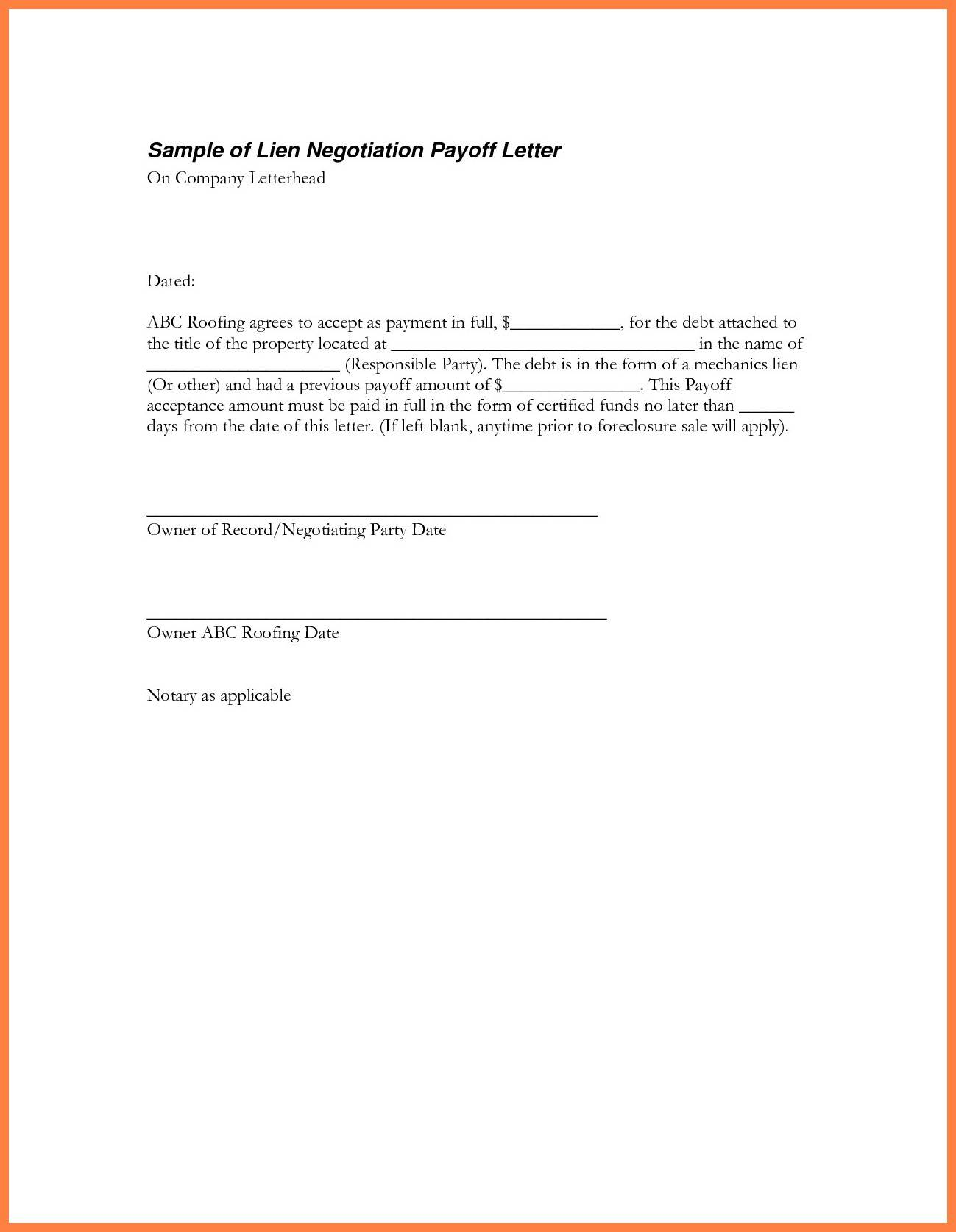 Loan Payoff Letter Template